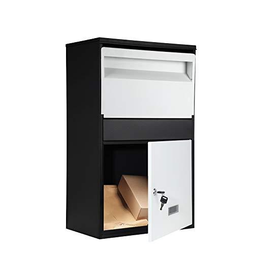 S SMAUTOP Caja de parcela montada en la pared, resistente a la intemperie, con cerradura antirrobo para correo, caja de almacenamiento al aire libre, caja de almacenamiento segura y duradera