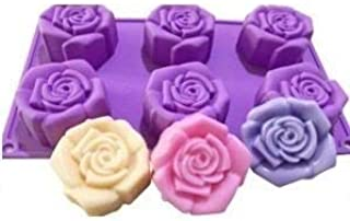 Grizzly® 1 Pc Silicone 6 Cavity, Rose Shape Cake Mould Chocolate Soap Mould Baking Mould Soap Making Candle Craft (Rose Mo...