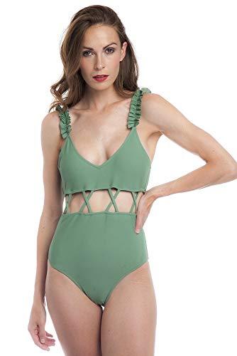 SOL Y PLAYA - Bañador una Pieza diseño Cortado Unido por Tiras Adornos Volantes en Tirantes clásico Braga Alta para Mujer Chica (38 - S, Verde)