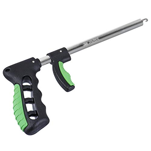 """RUNCL Fishing Hook Remover Extractor, Fish Hook Remover Saltwater, Fish Release Tool - Squeeze Out, Long Nose, Spring Loaded Widen Handle - Ice Fishing Hook Remover Fishing Dehooker - Green 13.6"""""""
