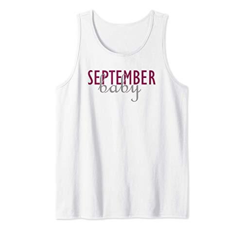 Septiembre cumpleaños del bebé mes anuncio embarazo Camiseta sin Mangas