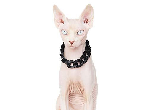 Khemn Designer Schwarzes-Leder Warmer Katze Pullover mit Dicke Baumwolle-Best für Haarlose Katze (Halskette, Schwarze (verstellbar))