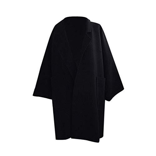Yowablo Jack Damen Mantel Coat Tasche Langarm Strickjacke beiläufige lose Strickjacke Tops Trenchcoat (L,Schwarz)