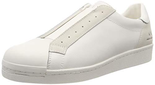 Armani Exchange Herren Suede + Leather Slip On Sneaker, Weiß (Optical White 00894), 45 EU
