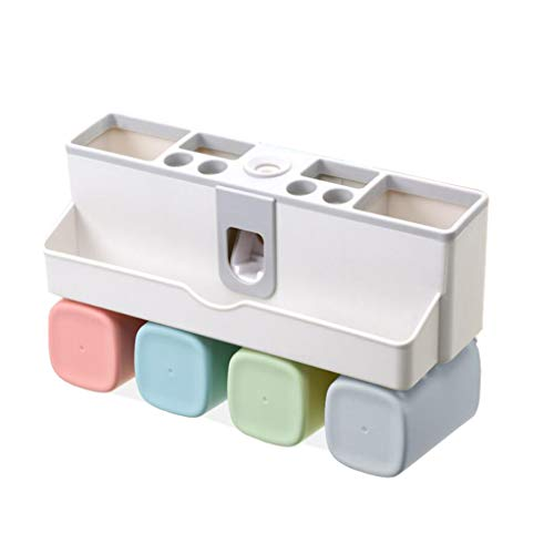 Wandmontage Tandenborstel Houder Badkamer Plank Wasbeker Automatische Tandpasta Kit Zonder Trace Installatie