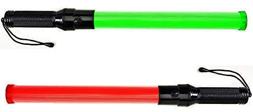 Lot of Two (2) pieces: Traffic Safety Baton Light, 21.5 inch length, Each baton contains 6 Red LED plus 6 Green LED. with 3 Flashing modes (Red blinking, Red steady-glow, Green steady-glow)
