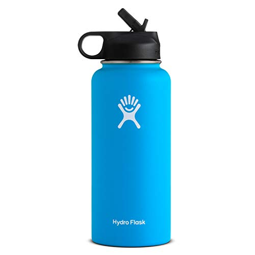 Hydro Flask Vacuum Insulated Stainless Steel Water Bottle Wide Mouth with Straw Lid (Pacific, 32-Ounce)