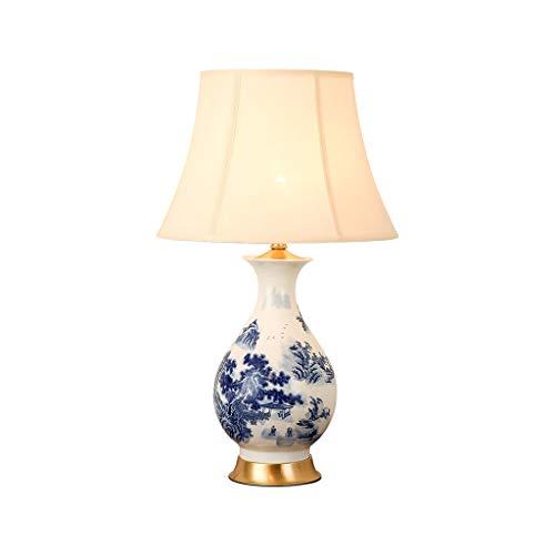 -Tischlampe Tischlampe im chinesischen Stil Voll Kupfer Stoff blau und weiß Porzellan-Vase Tischlampe Study Schlafzimmer Nacht Living Room Hotel dekorative Lampe Tischlampe Nachttischlampe