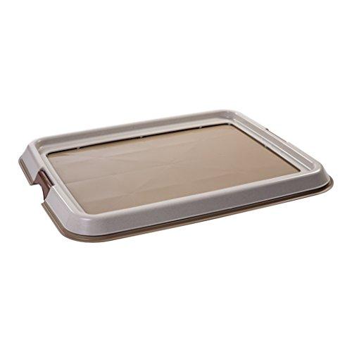 Iris Ohyama, Toilette / plateau propreté, 2 clips, pieds antidérapants en caoutchouc, pour tapis 60 x 45 cm, pour chiot & chien - Pet Tray FT-650 - Beige