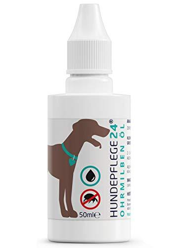 Hundepflege24 Ohrmilbenöl für Hunde, Katzen & Haustiere - 50ml - 100% Natürliche & Vegane Ohrpflege gegen Juckreiz, Pilz- & Milbenbefall - Hochwirksames Naturprodukt gegen Milben