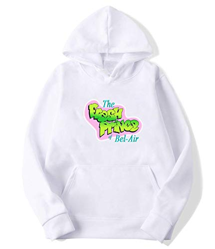 Fancymoreshop Fresh Prince of Bel-Air Sweater Hooded for Mens XL White
