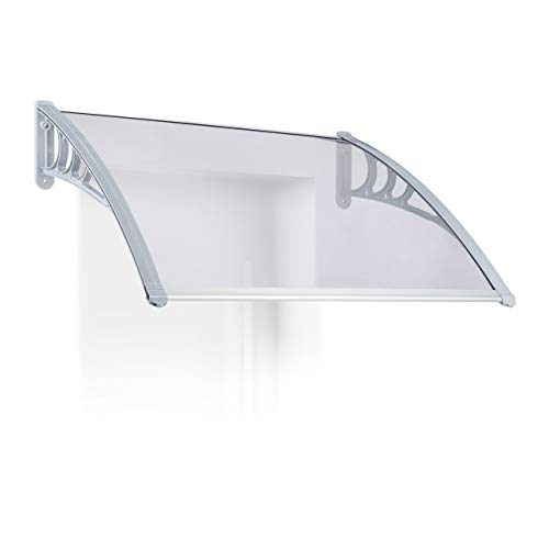 Relaxdays luifel huisdeur, overkapping transparant, massief polycarbonaat plaat 3 mm dik, verschillende maten, grijs