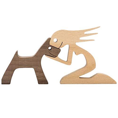 XIAOTIAN Familie & Welpe Holzhandwerk Skulptur Desktop Holzschnitzerei Ornamente Wohnkultur Kreative Geschenke Für Männer Frauen Jungen Und Mädchen Alte Menschen