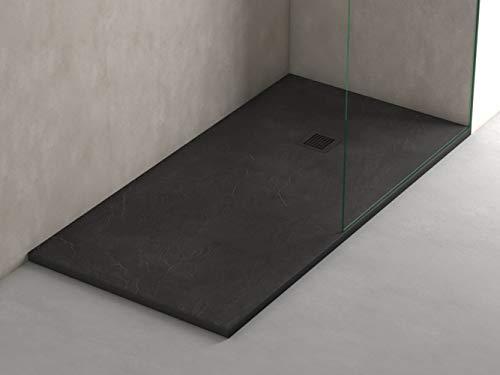 Plato ducha resina antideslizante textura pizarra Smooth Bricodomo 70x190 Negro