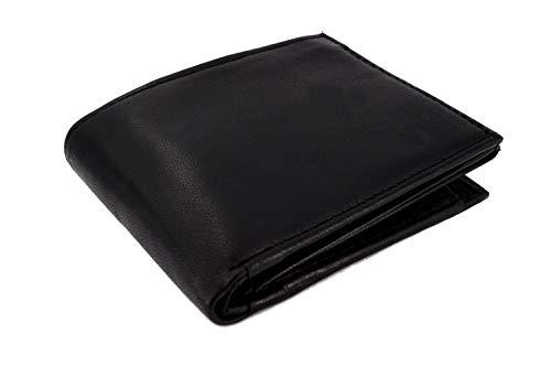 Cartera de hombre fabricada en napa negra con protección RFID y NFC, con muchos compartimentos