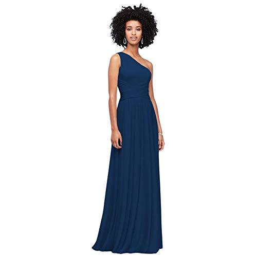 David's Bridal One-Shoulder Mesh Bridesmaid Dress with Full Skirt Style F19932, Marine, 0