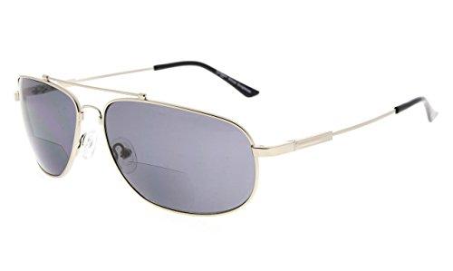 Eyekepper gafas de sol bifocales de lectura memoria Bendable lectores del sol mujeres hombres(Plata Marco Gris Lente, 1.50)