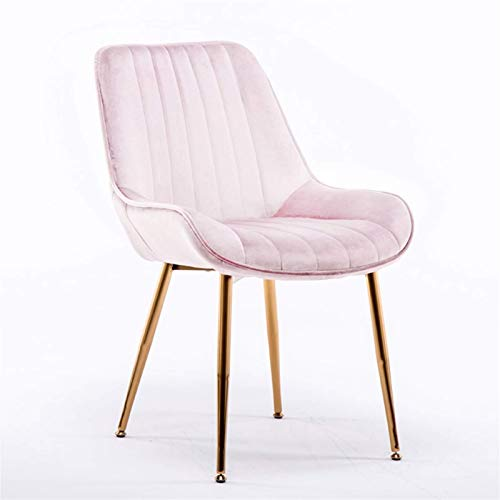 Dining Chairs 1 Piece Velvet Seat Mid-Century Modern Kitchen Chairs with Backrest Metal Legs for Office Lounge Dining Kitchen (Color : Pink)