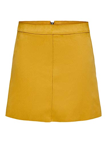 ONLY Damen ONLLINEA Faux Suede Bonded Skirt CC OTW Rock, Golden Yellow, 42