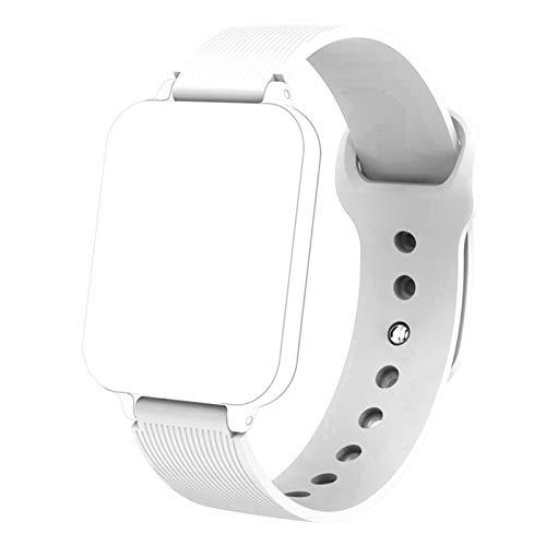 YDL Banda de Correa para B57 Smart Watch Mujeres Hombres Impermeable a Prueba de Agua 16mm Correa Deportiva Strap de Pulsera Inteligente (Color : White)