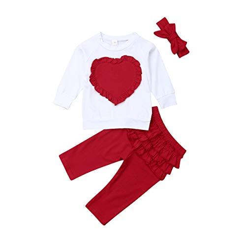 3 Piezas Traje de Bebé Niña Camiseta de Manga Larga con Patrones de Corazón + Pantalones Largos + Diadema de Bowknot Top Blusa de Cuello Redondo Pantalón de Color Sólido (Rojo, 6-12 Meses)