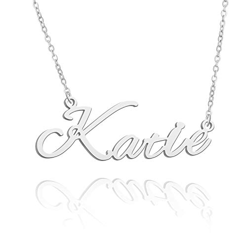 BUREI Women Personalized Name Necklace Silver Pendant Necklace Gifts for Katie