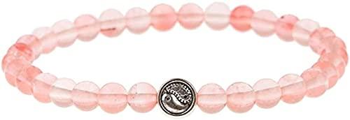 Cuentas de arte de piedras preciosas de la niña Pulsera de piedra, mujer, 7 chakra, perlas de cuarzo de rosa natural, brazalete elástico yin yin yang joyería, rogue, yoga, equilibrio, eficacia, reiki,