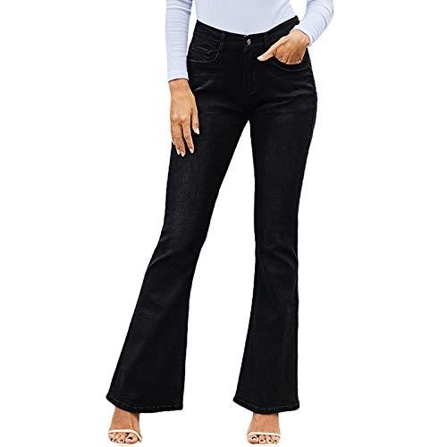 Pantalones Vaqueros de Mujer Piernas Acampanadas Retro Denim Lavado Commuter Trabajo de Oficina Ajuste Relajado Color sólido Delgado Moderno XXL