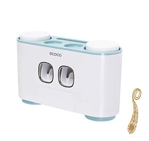 Automatische Tandpasta Dispenser met Wall Mount Tandenborstel Houder Tandpasta Squeezer met 5 Borstels Set Kids Hands Gratis Tandpasta Dispenser voor Douche Badkamerwastafel Blauw