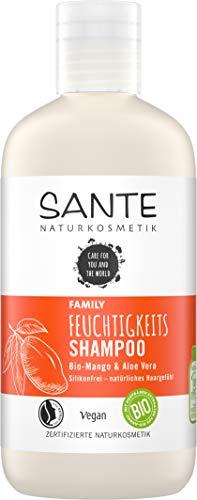 SANTE Naturkosmetik Feuchtigkeits Shampoo Bio-Mango & Aloe Vera, Spendet Feuchtigkeit, Glänzendes Haar, Natürliche Haarpflege für trockenes Haar, Vegan, 250ml