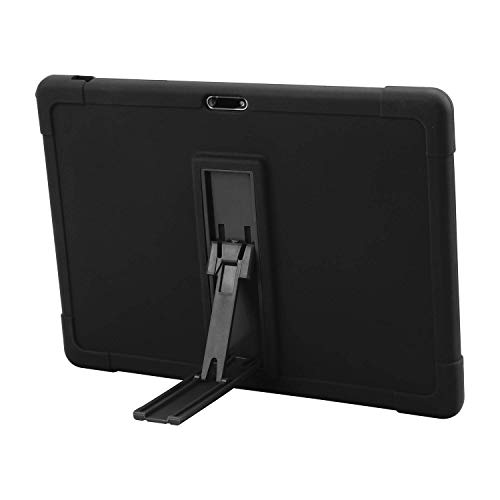 Dragon Touch Max10 Tablet Case, ZONKO 10.1 inch Tablet case [Kickstand] Shockproof Silicone Case Cover + PC Tablet Bracket Stand Case for Dragon Touch Max10 Tablet (Black) (Renewed)