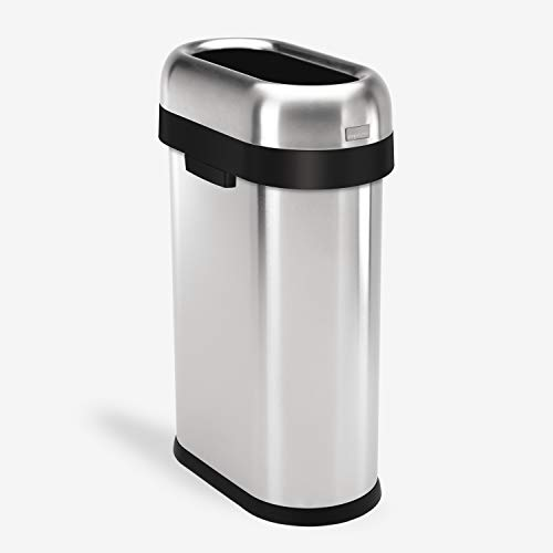 simplehuman 50 Liter / 13.2 Gallon Slim Open Top Trash Can, Commercial Grade Heavy Gauge Brushed Stainless Steel