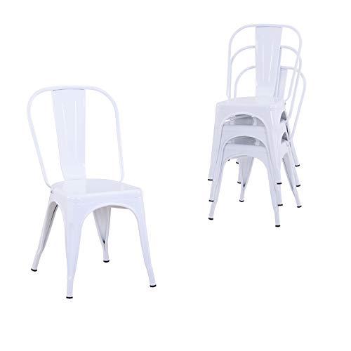Uderkiny Lot de 4 chaises de Salle à Manger empilables Chaises en métal de Style Industriel, adaptées aux chaises de Balcon intérieures et extérieures, chaises de Jardin (Blanc)