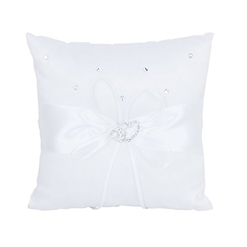 SODIAL(R) 20 x 20 cm doble boda del corazon de bolsillo del anillo portador almohada cojin --- s, color blanco