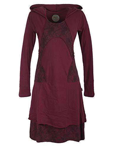 Vishes - Alternative Bekleidung - Damen Langarm Lagenlookkleid aus Baumwolle mit Zipfelkapuze dunkelrot 36