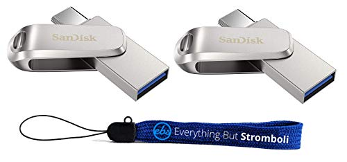 SanDisk 1TB Flash Drive (Bulk 2 Pack) Ultra Dual Drive Luxe USB Type-C for Smartphones, Tablets, and Computers - High Speed USB 3.1 (SDDDC4-1T00-G46) Bundle with (1) Everything But Stromboli Lanyard