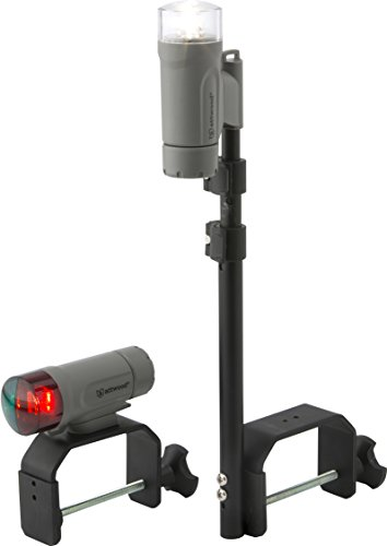 attwood 14190-7 Water-Resistant Portable Clamp-On LED Light Kit with Marine Gray Finish