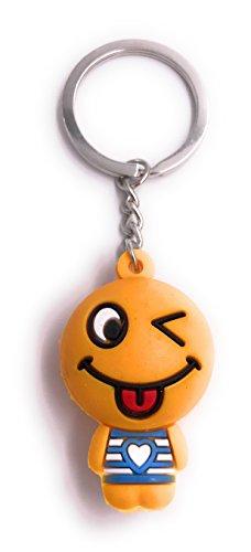 H-Customs Orange Figur Zunge Raus Smiley Schlüsselanhänger Anhänger