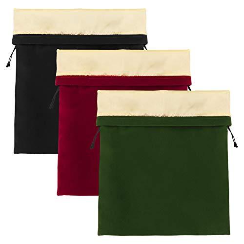 Recipiente para bolsas de secador de pelo, 3 bolsas de cordón con cordón, 11,8 x 15,7 pulgadas, estuche de terciopelo con forro de satén para rizadores, alisadores, bolsas de regalo de Navidad