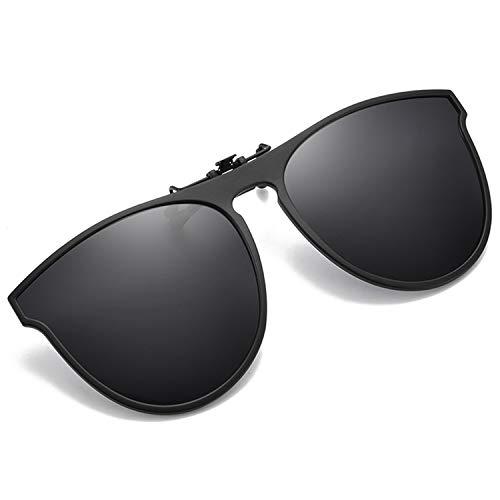 OopsMi Polarized Clip-on Sunglasses TR90 Frame Flip Up Driving Glasses For Prescription Glasses (Black Lens)