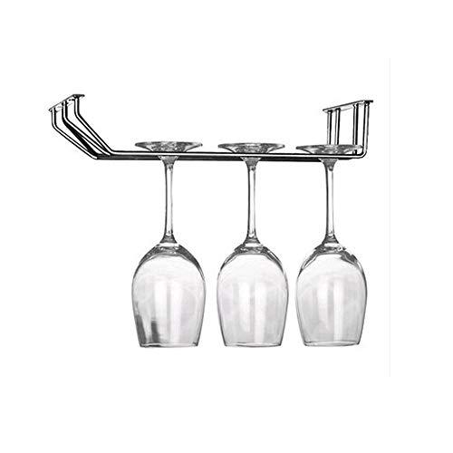 Ogquaton Soporte Resistente de Taza de Cristal (Acero Inoxidable 2Filas Montaje Almacenamiento de Taza de Vidrio de Vino para Home Bar Hotel Use 1pcs