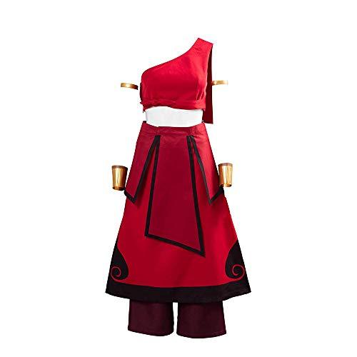 Shuifeng Anime Cosplay Last Airbende Katara Kostümrock komplettes Set Halloween Carnival Party 5-teiliges Set rot