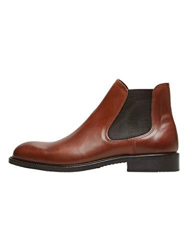 Selected Shdbaxter Chelsea Leather Boot Noos, Bottes Homme, Marron (Cognac), 40 EU