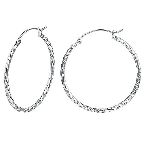 Pendientes De Aro Retorcido para Mujer Plata de ley 925 círculo Aretes con Tipo Criolla - Diámetro: 45 mm