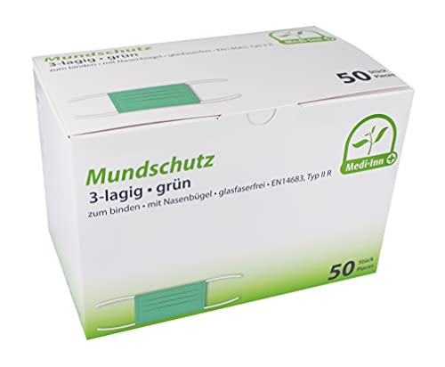 Medi-Inn+ Mundschutz Typ IIR 3-lagig 9 cm x 17,5 cm grün mit Nasenbügel zum Binden (50)