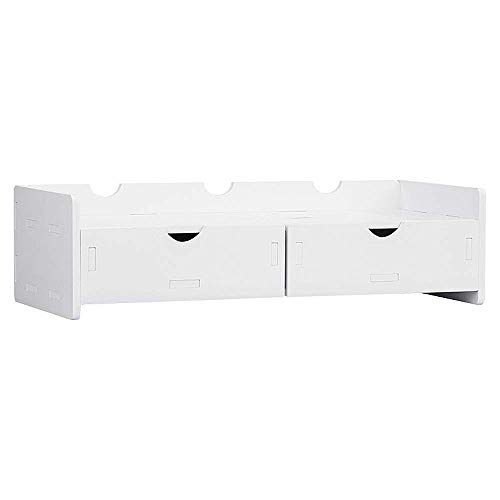 XYSQWZ Monitor Stand Moniter Stand TV PC Laptop Computer Screen Riser Desk Storage with Drawer Storage Box Desk Stand for Keyboard Storage Multi-Media Lapto (Color : White, Size : 48.5x21x13cm)