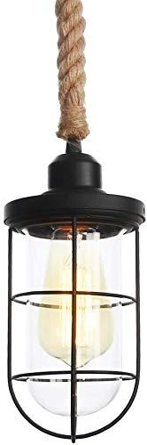 FANPING Cuerda de cáñamo de la vendimia linterna-F? ONDULADO candelabros dormitorio sala de estar leyendo lámparas de iluminación de techo de la sala, lámpara de techo de estilo antiguo E27