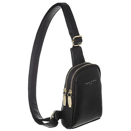 INICAT Small Crossbody Sling Bag Faux Leather Fanny Pack Purses for Women Teen Girls(Black)