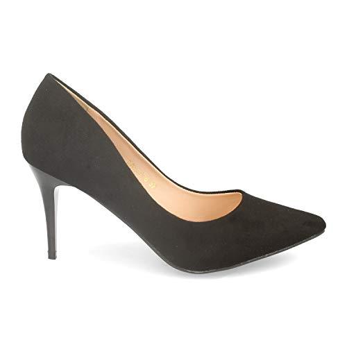 Zapato De Mujer Con Tacon De Aguja Stiletto Y De Punta Fina. Elegante, Moderno Y Sofisticado. Ideal Para Fiestas, Celebraciones O Un Look Casual. Talla 39 Negro