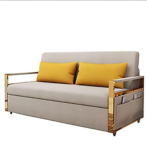 MKMKT Sofá Cama Plegable, sofá Cama para Sentarse y Dormir en el salón, sofá Cama Sencillo y Moderno con almacenaje, Tejido extraíble y Lavable,Caqui,150cm